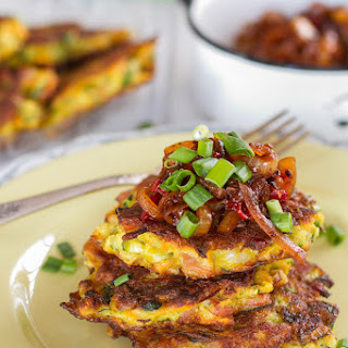 Zucchini & Bacon Fritters with Onion Relish