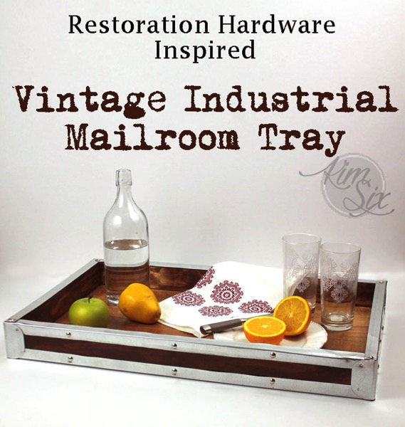 Restoration Hardware Inpsired Metal and Wood Vintage Tray