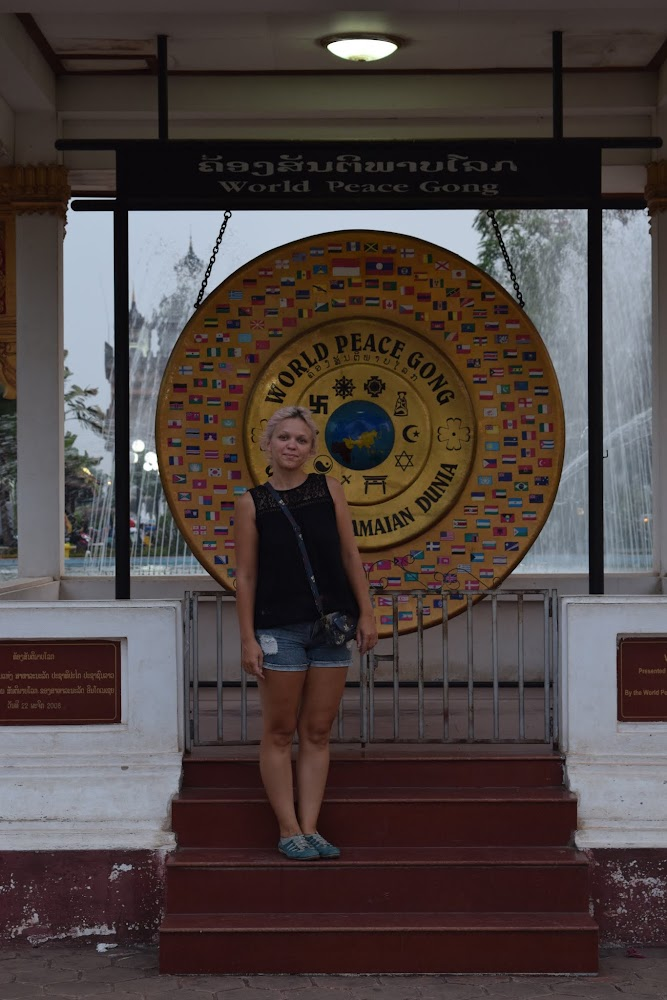 The ol' Nazi sign (haha not really, it's Buddhist sign) on the World Peace Gong!!