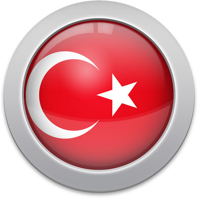 Turkish flag icon with a silver frame