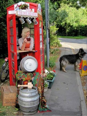 Old telephone booth turned into the Dog and Bone Pub