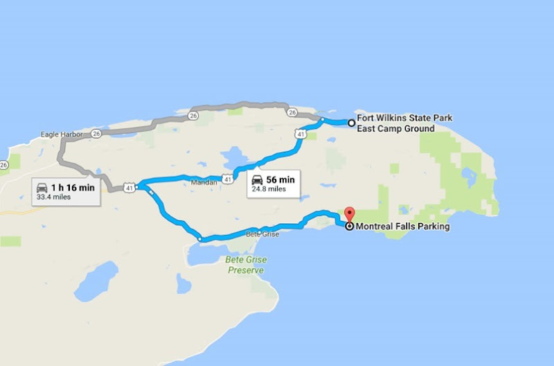 Fort Wilkins State Park East Camp Ground to Montreal Falls Parking - Google Maps