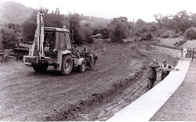 Checking the earthworks for platform 2.  Tony Gist, Alan Tyrie and Mike Creasey.  Date: 28th August 1996.  Photo: Rev. David Hardy