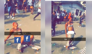Shocking!! Another Slay Queen Used By Yahoo Boys Strips Off In The Middle Of The Road At Mushin [Photos]