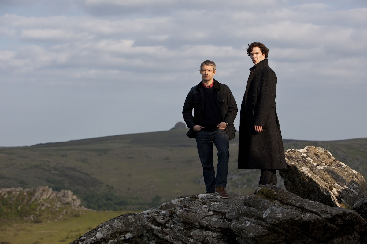 BBC Sherlock: The Hounds of Baskerville - Martin Freeman is Dr John Watson and Benedict Cumberbatch is Sherlock Holmes