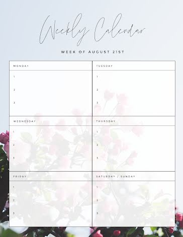 Weekly Calendar Blossoms - Weekly Calendar template