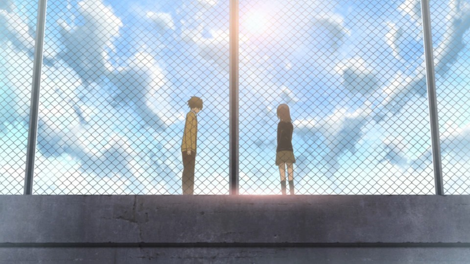 From behind a fence we see Fujimiya and Hase in a more dramatic scene against the bright sun