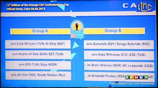 Capture d'écran du tirage au sort des poules de la Ligue des champions de la Caf. Radio Okapi/Ph. John Bompengo