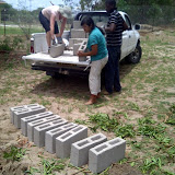 Tish and the others during building day at Shakawe