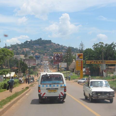 View driving into Kampala