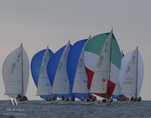 J/80s sailing downwind at Key West Race Week