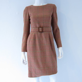 Oscar de la Renta Glen Plaid Belted Sheath
