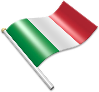 The Italian flag on a flagpole clipart image