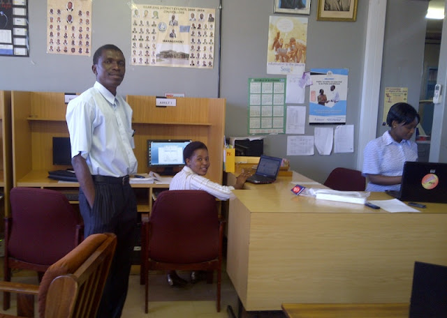 Some of my students at Mochudi Public library. Modikwa in foreground
