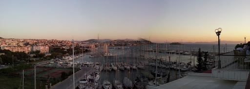 Panoramic view of Kusadasi harbor from Hotel Kismet's terrace