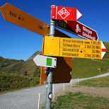 directional signs on the First Mountain in Grindelwald, Bern, Switzerland