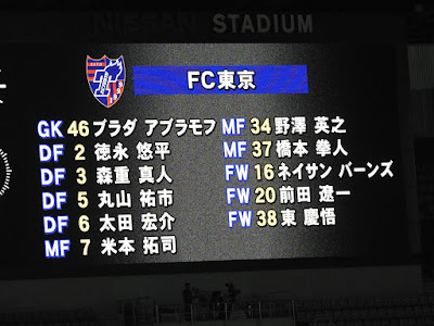 横浜F・マリノスvsFC東京 FC東京先発