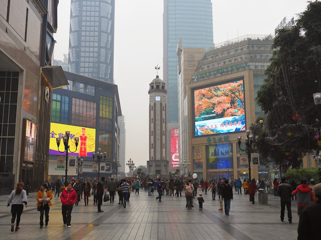 view of the Chongqing People's Liberation Monument and the Jiefangbei Pedestrian Street's central square facing southwest