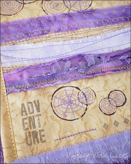 Purple and Yellow Art Quilt by Vintage with Laces