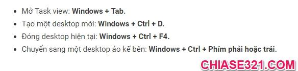 phím tắt khi sử dụng Windows 10