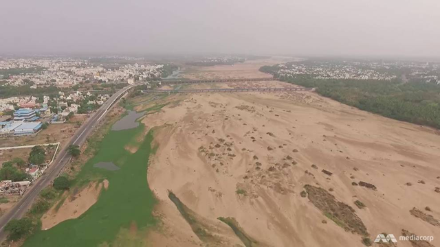 Aerial view of the once-mighty 800km Cauvery River, a major lifeline in southern India on which millions of farmers depend, now a dessicated channel of dust. Photo: Channel New Asia