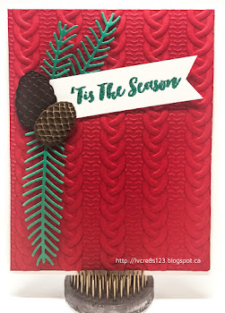 Linda Vich Creates: Cable Knit Christmas. Bright Emerald Envy pine boughs and realistic pine cones embellish this Real Red cable knit embossed matte creating a bright and cheerful Christmas card.