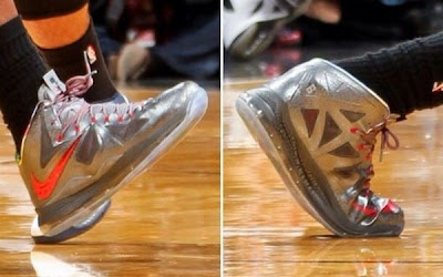 nike lebron 10 pe silver red 1 02 Closer Look at Nike LeBron X Silver / Red Player Exclusive