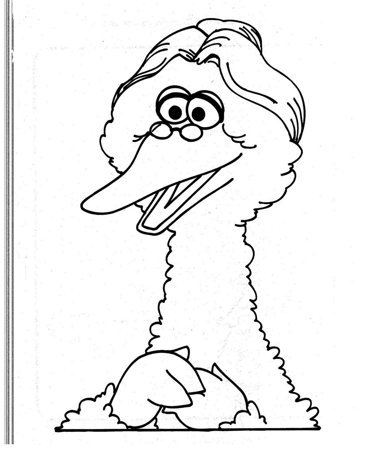 Free kids coloring big bird coloring 1 street sesame for Big bird coloring pages printable free