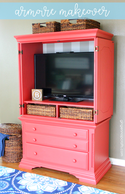 Armoire Makeover at GingerSnapCrafts.com #forthehome