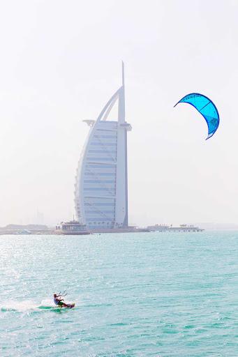 The modern and distinctive Burj Al Arab in Dubai is the fourth tallest hotel in the world.