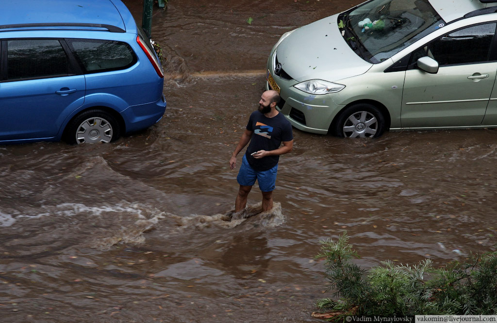 Потоп после штромового ливня, Кфар Саба, Израиль