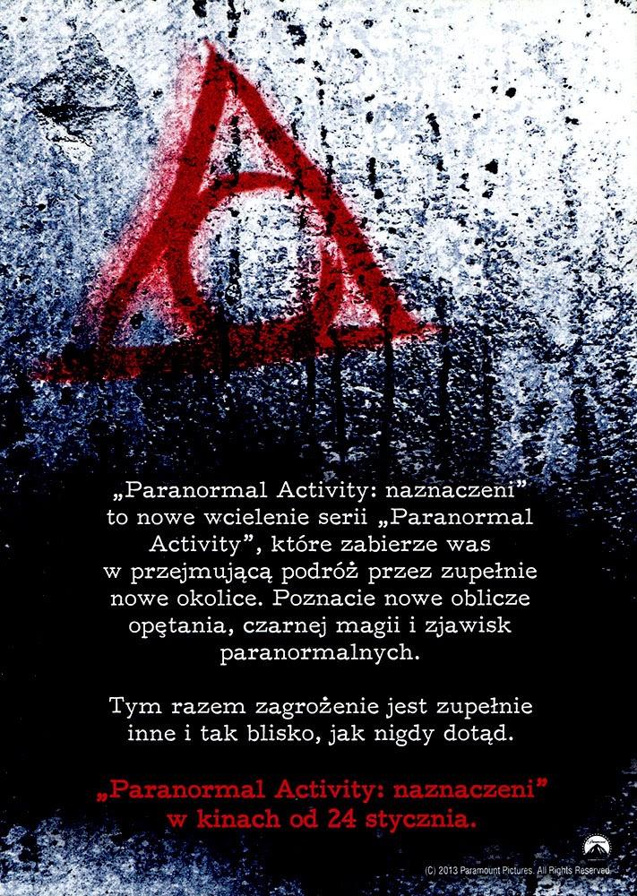 Ulotka filmu 'Paranolmal Activity: Naznaczeni (tył)'
