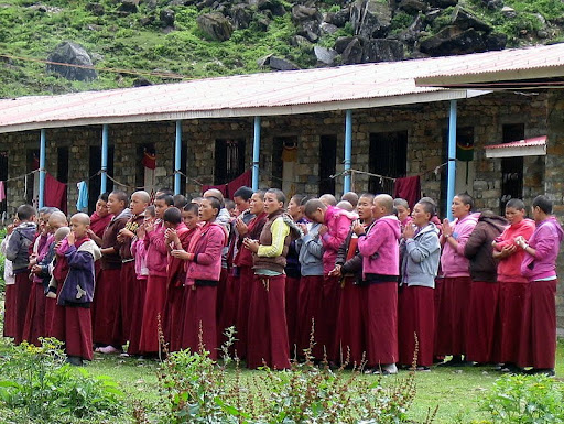 Nuns of Rachen Nunnery praying, Tsum, Nepal, 2012. Photo courtesy of Kopan Monastery.