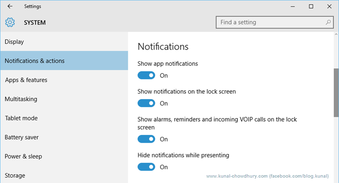 Notifications in Windows 10 (www.kunal-chowdhury.com)