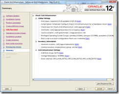 Oracle Grid Infrastructure 12c Installer - Summary