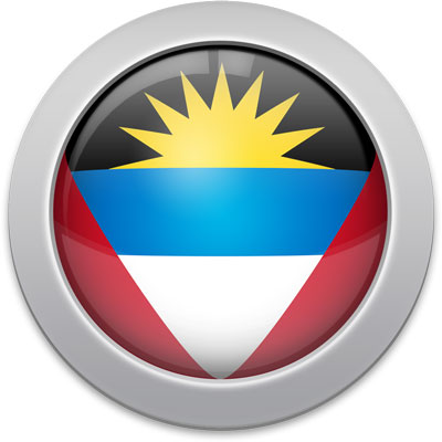 Antiguan flag icon with a silver frame