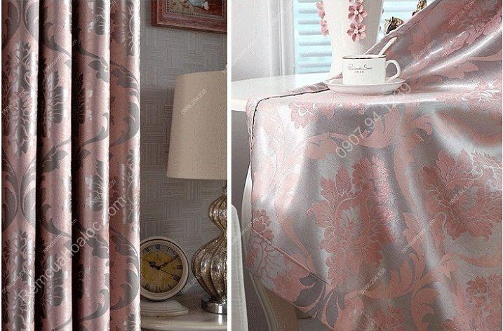 Rèm cửa giá rẻ hcm họa tiết mờ hồng 4