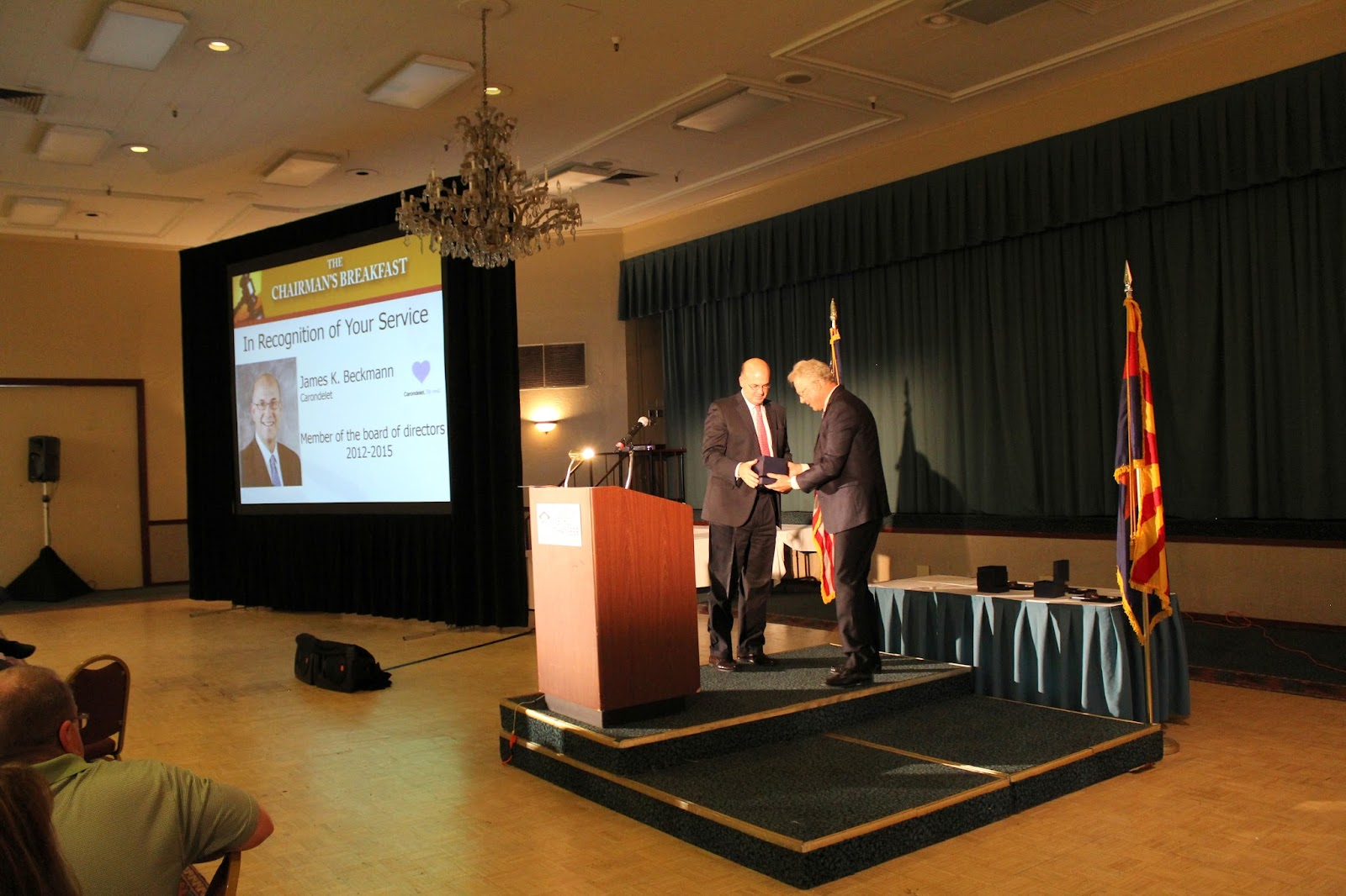 James Beckman, Carondelet Health Network accepting award for his service on the Board of Directors.