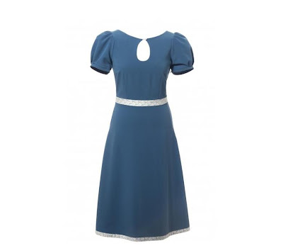 40s blauwe vintage cocktail jurk van Red Juliet Couture