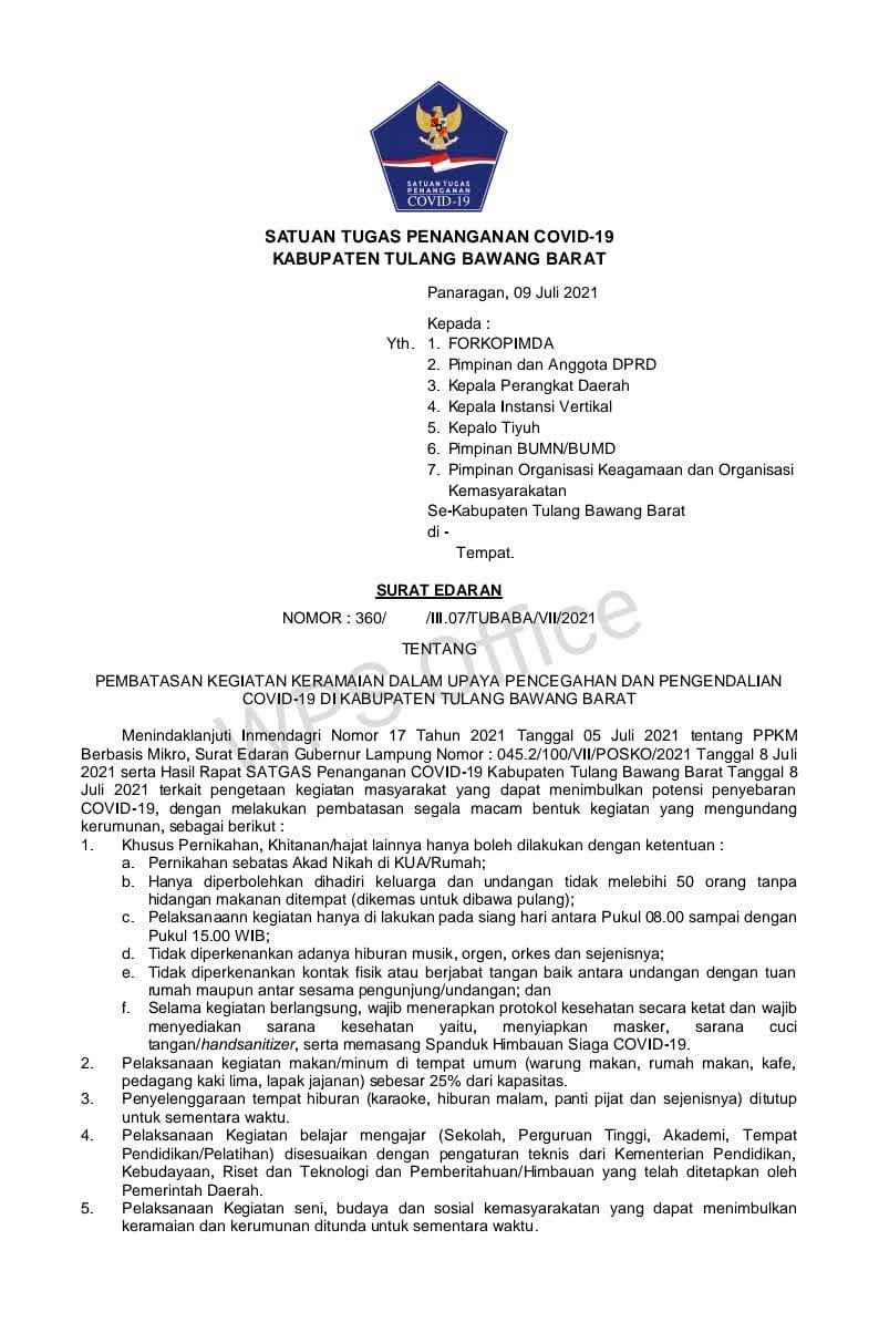 Surat Edaran Satuan Tugas Penanganan Covid-19 Kabupaten Tulang Bawang Barat