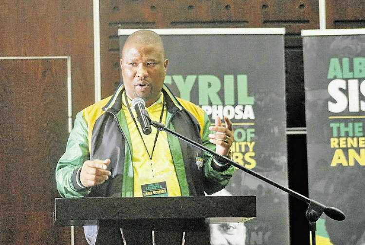 ANC provincial chair Oscar Mabuyane speaking at the ANC provincial lekgotla