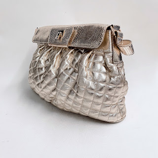 Lambertson Truex Quilted Metallic Leather Shoulder Bag