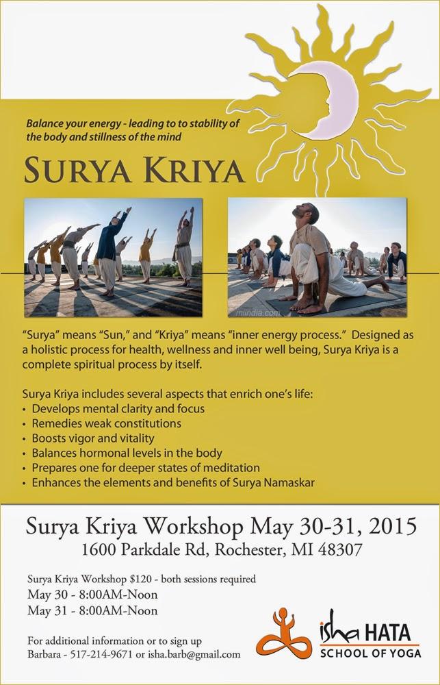 Surya Kriya Yoga Workshop For Ages 14 In Michigan