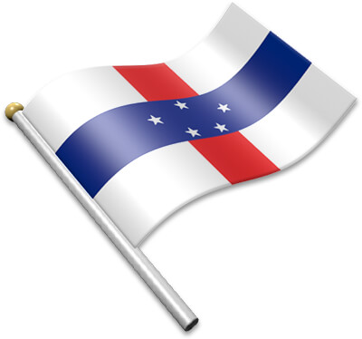 The Antillean flag on a flagpole clipart image