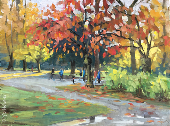 Autumn in the park, oilpainting, pleinairpainting