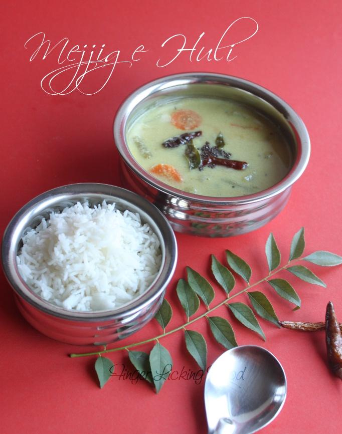 Finger Licking Food: Mejjige Huli - Veggies in Yoghurt: sauce