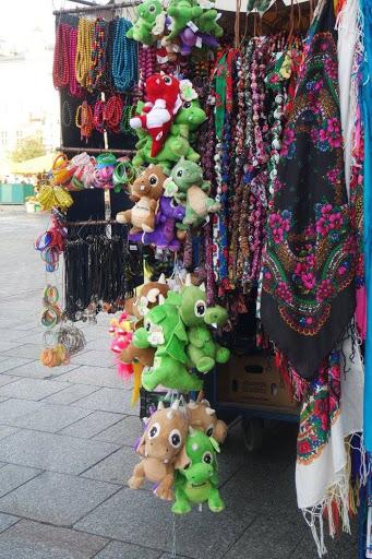 Dragon plush toys at Krakow Main Market Square