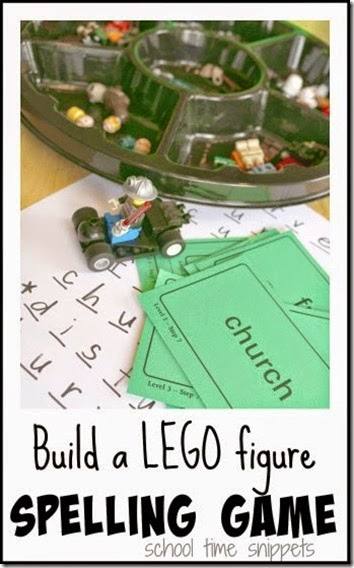Lego Mini Figure Spelling Game - This is such a fun, spelling activity for kids Kindergarten, 1st grade, 2nd grade, 3rd grade, and 4th grade. (homeschool, language arts, lego)