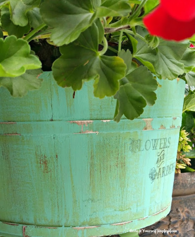 painted wooden bucket planter