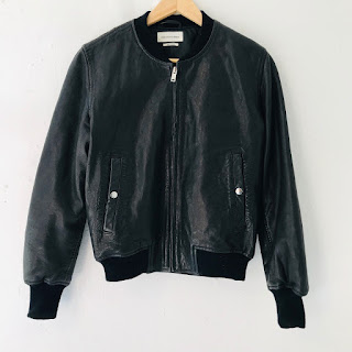 Isabel Marant Étoile Black Lamb Leather Bomber Jacket
